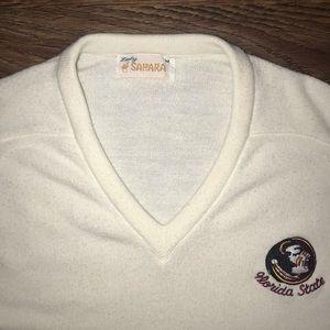Vintage Sweaters - V Neck sweater Vintage White FSU - Medium